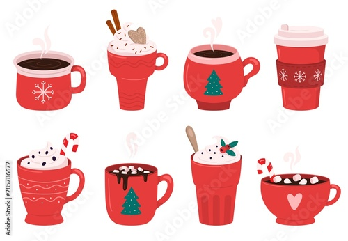 Fototapeta Christmas holiday coffee mug. Cocoa with marshmallows, winter warming drinks and hot espresso cup. Xmas hot chocolate mugs or winter cappuccino and latte cups. Isolated vector illustration icons set obraz