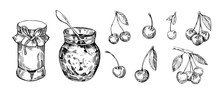 Jar With Jam And Cherry Berries. Hand Drawn Outline Converted To Vector