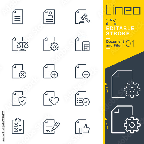 Lineo Editable Stroke - Document and File line icons - fototapety na wymiar