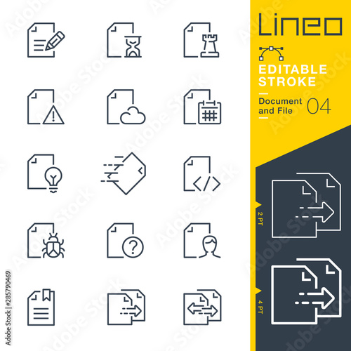 Fotomural Lineo Editable Stroke - Document and File line icons