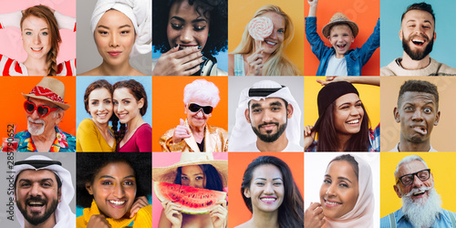 Colored collage with different people and ethnicities. Various people from the world on a unique composition