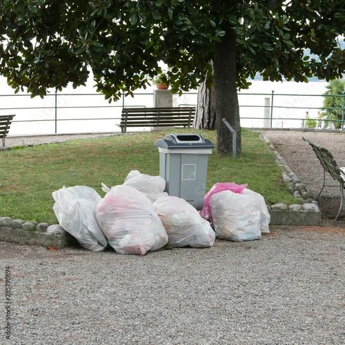 Photo accumulation of garbage bags before harvesting