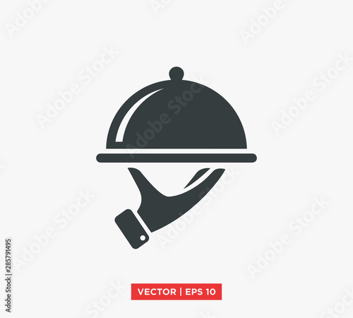 Fotografie, Obraz Food Tray on the Hand / Waiters Serving Icon Vector Illustration