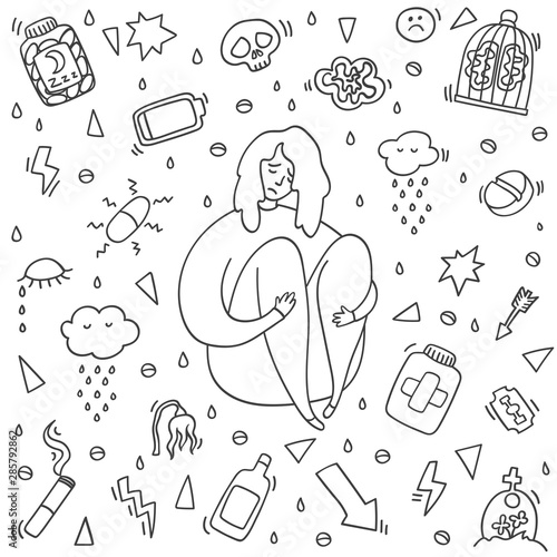 Sad And Depressed Girl Sitting Depression Girl Doodle Heartbreak And Sad Doodle Woman Depression Signs And Symptoms Concept Of Stress Sadness Depression Pain Isolated On White Background Buy This Stock Illustration