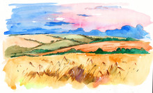 Watercolor Rural Landscape