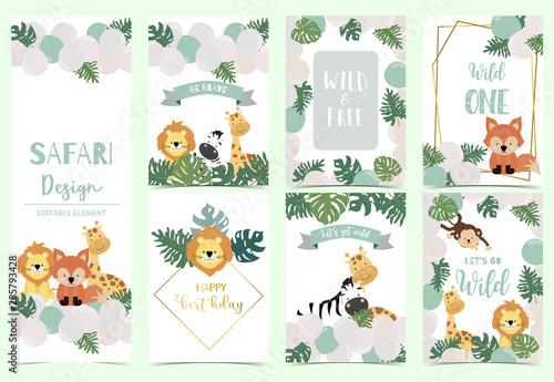 Photo Green,gold animal collection of safari background set with lion,fox,giraffe,zebra,geometric vector illustration for birthday invitation,postcard,logo and sticker