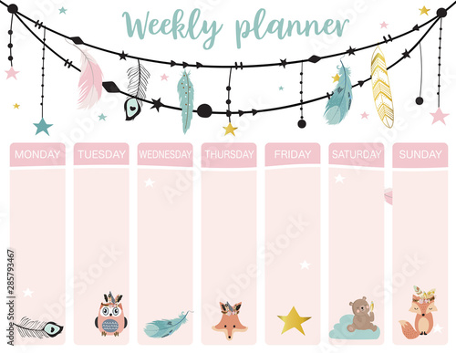 Obraz cute weekly planner background with boho,fox,bear,feather.Vector illustration for kid and baby.Editable element - fototapety do salonu