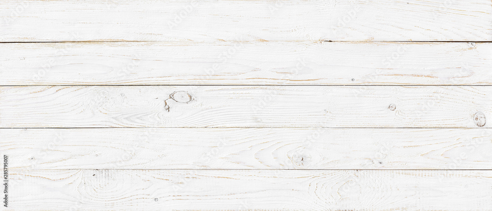 Fototapeta white wood texture background, wide wooden plank panel pattern