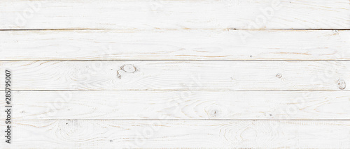 white wood texture background, wide wooden plank panel pattern - 285795007