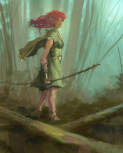 Elf Ranger Character Walking Through A Magic Forest With A Bow And Arrow - Digital Fantasy Painting