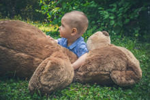 Sweet Little Baby Boy Playing With His Giant Teddy Bear In The Park