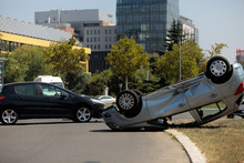 Car Turned Over After Accident.