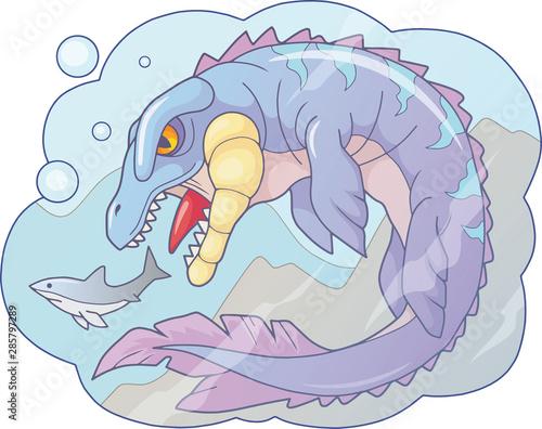 Cartoon prehistoric water dinosaur mosasaur, funny illustration Fototapet
