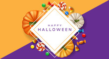 Halloween Square Frame With Autumn Pumpkin From Top View, Lollipop And Candy. Vector Illustration For Halloween Party Invitation, Autumn Design Template Or Other Candy Background