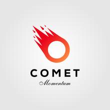 Letter O Comet Meteor Logo Vec...