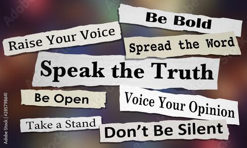 Obraz Speak the Truth Share Opinion Spread Your Voice Headlines 3d Illustration - fototapety do salonu