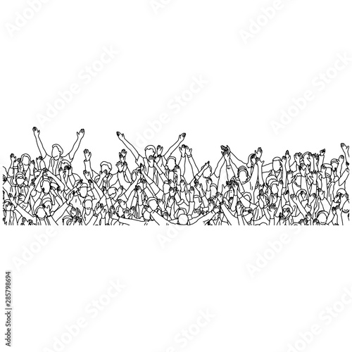 Obraz na plátně  crowd of people cheering their favorite sport team on stadium vector illustration sketch doodle hand drawn with black lines isolated on white background