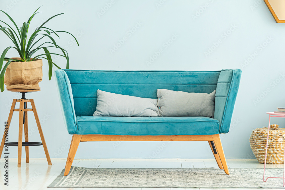 Fototapety, obrazy: modern interior with blue sofa