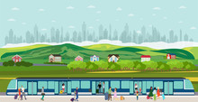 Vector Of People Boarding The ...