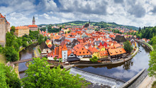 City Landscape, Panorama, Banner - View Over The Historical Part Cesky Krumlov With Vltava River In Summer Time, Czech Republic