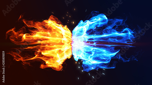 Canvas Print Fire and Ice Concept Design with spark. 3d illustration.