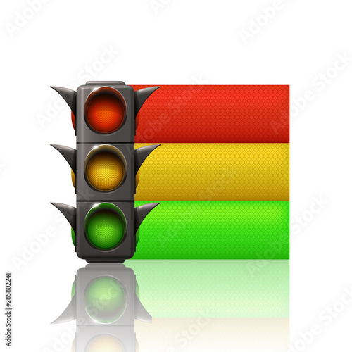 trafic light with three color lines Wall mural