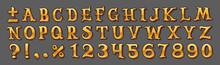 Golden Alphabet Isolated On Gray