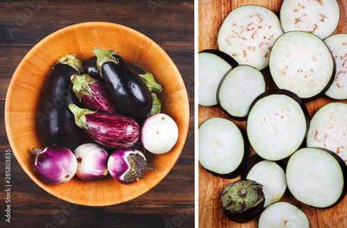 Fotografie, Tablou Fresh eggplants of different color and variety in wooden bowl on a wooden backgr