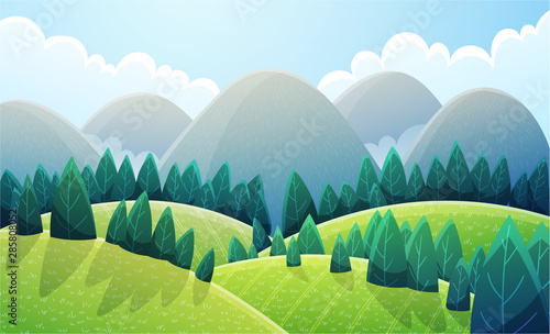 Cuadros en Lienzo  Mountains landscape with light green rounded hills and stylized pine trees