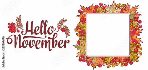 Photo Hello November lettering phrase text.Autumn leaves