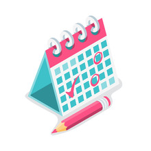 Mark Calendar Isometric Icon. Vector Illustration Cartoon Style. Red Pencil And Mark. Date Circled. Week Day Month. Landing Page Mockup Of Page. Template For Web Page.