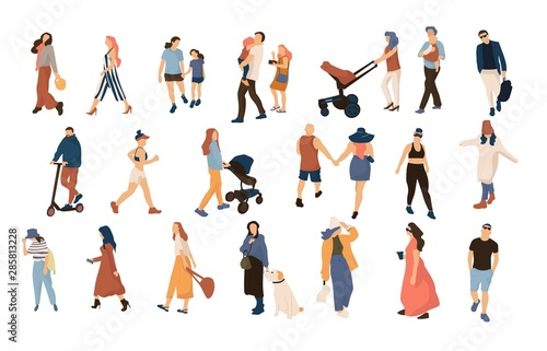 Fototapeta Trendy people crowd. Modern cartoon persons and couples walking in crowd, summer outdoor collection. Vector illustration many character city flat men and women walk obraz na płótnie