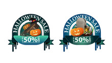 Halloween Sale, -50% Off, Two Round Discount Banners With Tombstone And Pumpkin Jack