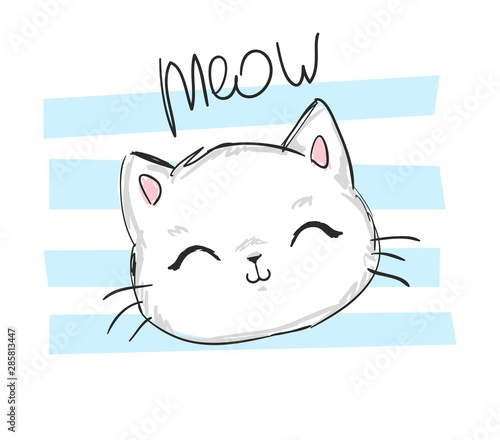 Foto Hand Drawn Cute cat with phrase lovely cute weow vector illustration