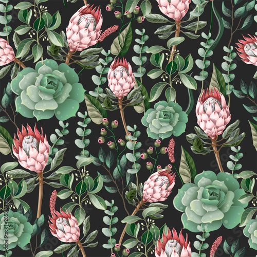 Leinwand Poster Seamless pattern with leaves, protea flowers, succulent and eucalyptus