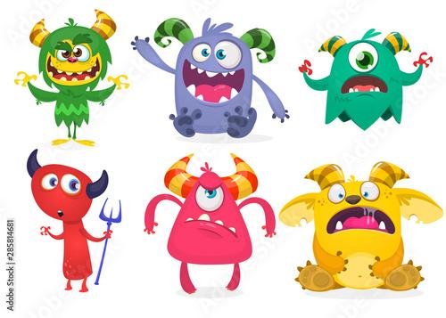 Photo  Funny cartoon monsters set. Halloween vector illustration