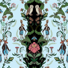 Fairytale Graphic Seamless Pattern With Forest Animals And Flowers.