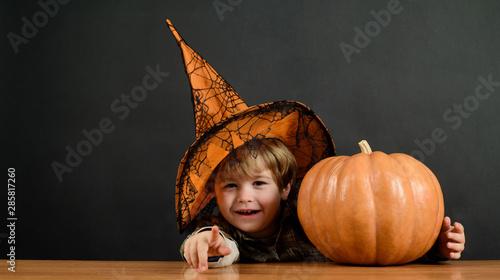 Cute little witch with pumpkin Wallpaper Mural