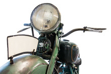 Old Motorcycle, Front View Of ...
