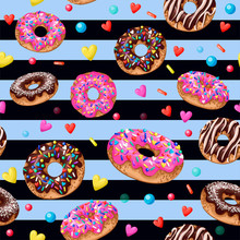 Seamless Pattern With Yummy Do...
