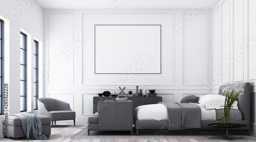 Modern Luxury Bedroom With White Classic Pattern Wall And Grey Furniture Tone And Frame Artwork 3d Render Buy This Stock Illustration And Explore Similar Illustrations At Adobe Stock Adobe Stock