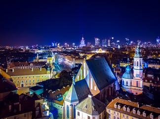 Panel Szklany Warszawa Warszawa Stare Miasto nocą
