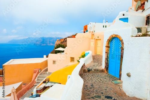 Poster de jardin Europe Méditérranéenne National greek architecture on Santorini island, Greece. Summer landscape, sea view.