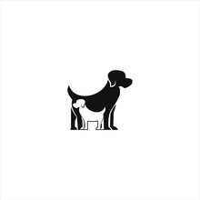 Dog Logo Simple Modern Playful Flat Black Vector.  Animal Icon Design Inspiration And Silhouette