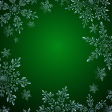 Christmas Illustration With Frame Of Large Complex Translucent Snowflakes On Green Background. Transparency Only In Vector Format