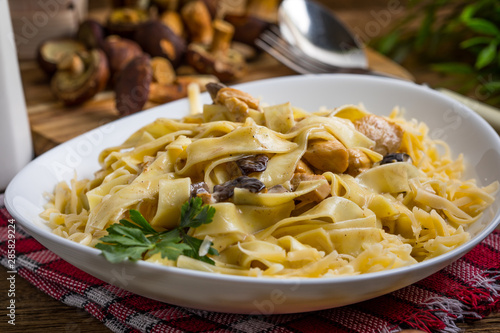 Fotomural  Tagliatelle pasta with forest mushrooms and chicken.