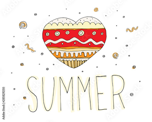 Staande foto Retro sign love summer. Cute colorful cartoon card with heart, lettering and decorative elements. vector illustration. summer season.