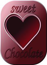 Dark Red Heart, Sweet Chocolate Template