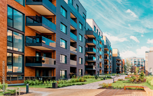 Europe modern complex of residential buildings Canvas Print