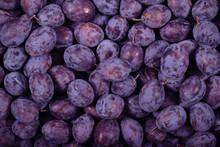 Plum Prunes Fresh Lying On The...